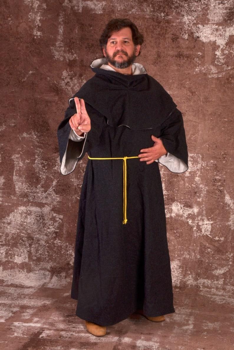 dcf2292e3d Linen Monk s Robe   Hood Men s Medieval Costume Garb SCA LARP Renaissance  Floor-Length Shirt Tunic Surcoat