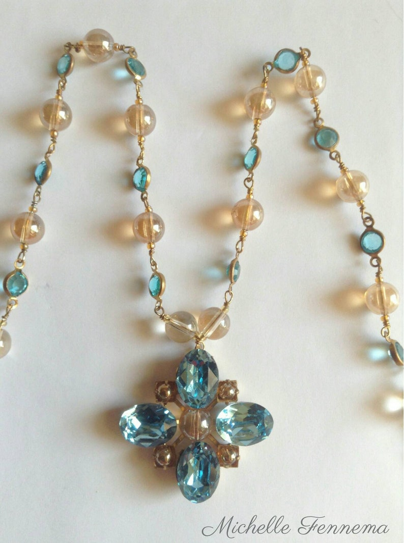Renaissance Tudor Cheapside Hoard Inspired Necklace in Aquamarine Swarovski