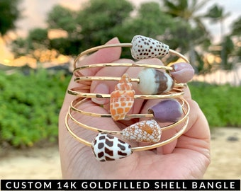 Custom Gold Hawaiian Shell Bangle, Shell Bangles, Made in Hawaii,  Gifts for Her,Gifts for Mom,Beach Bangles,Beachy Jewelry,Beachy Bracelets