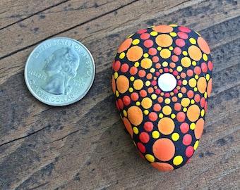 Psychedelic Painted Stone Mandala - Keeper