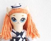 Amélie Sailor - Handmade kitty art doll - OOAK soft doll - Nautical nursery decor - Unique doll - Christmas gift for girl - Baby shower gift