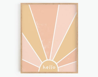 Abstract Sun, Printable Wall Art, Boho Nursery Decor, Playroom Wall Art, Baby Room Decor, Neutral Wall Art, Digital Print
