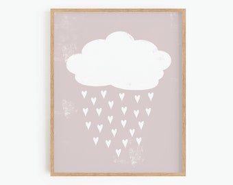 Rain Cloud, Hearts, Printable Wall Art, Boho Nursery Decor, Neutral Wall Art, Playroom Wall Art, Digital Print, Baby Room Decor
