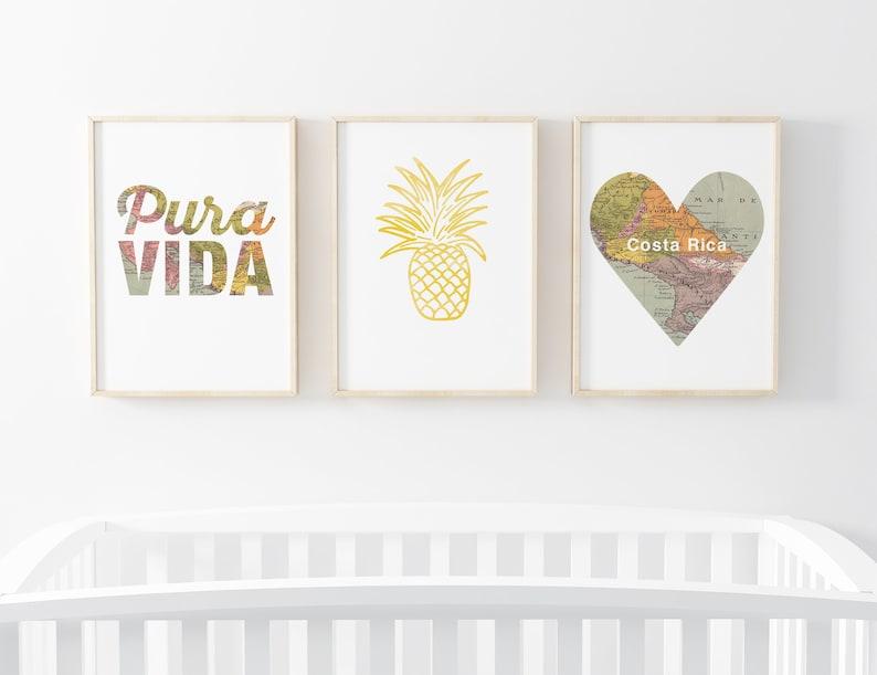 Pura Vida Printable Wall Art Set  Map Print for Nursery or image 0
