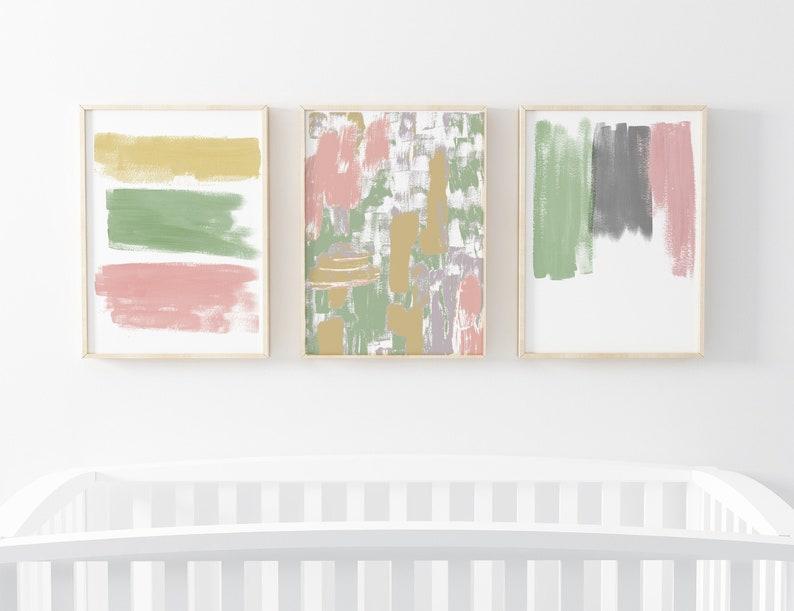 Set of 3 Prints For Nursery   Abstract Painting  Printable image 0