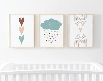 Rainbow Wall Art Set, Boho Nursery Decor, Printable Wall Art,  Playroom Wall Art, Digital Print, Toddler Wall Art, Instant Download Art