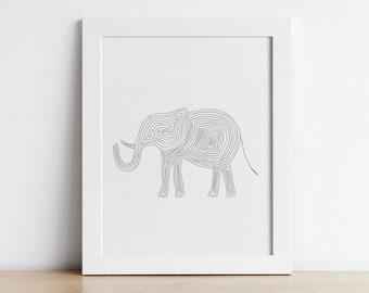Elephant Nursery Decor - Printable Wall Art - Safari Animal Print - Grey Nursery Art - Digital Download
