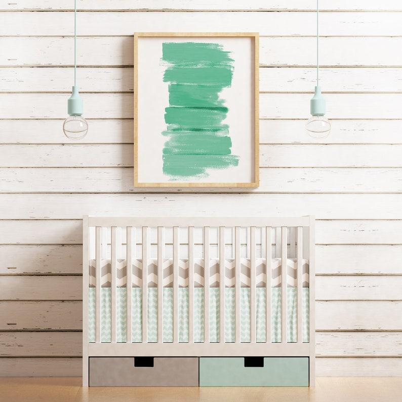 Printable Wall Art  Green Abstract Painting  Print for image 0