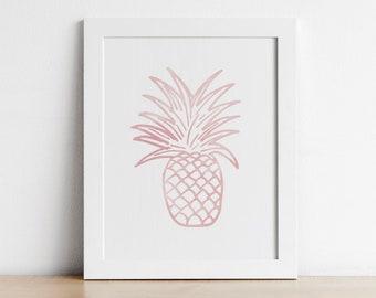 Pineapple Print - Tropical Baby Girl Nursery Decor - Printable Wall Art - Blush Pink Wall Art Nursery - Digital Download Print