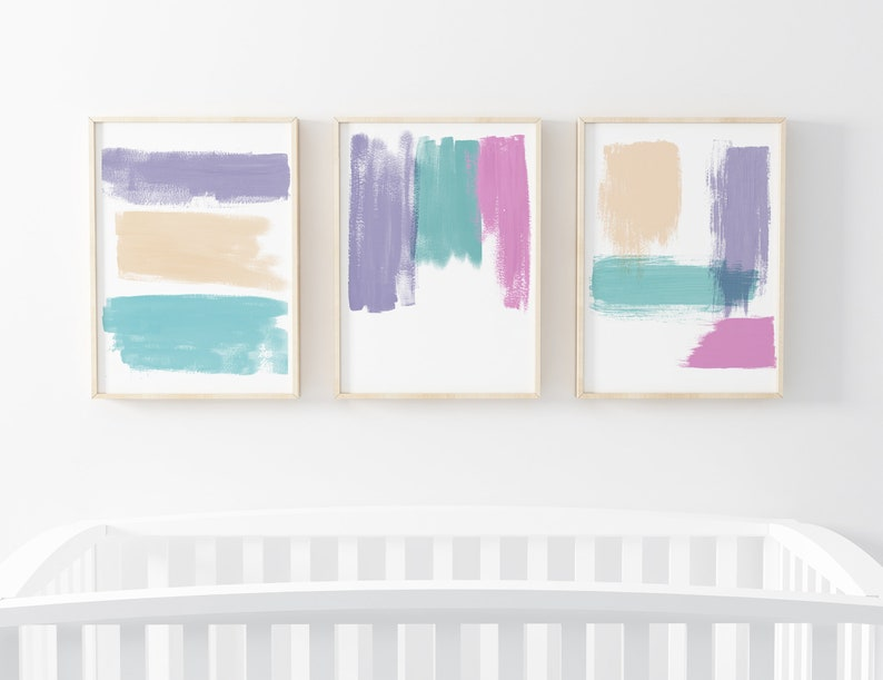 Abstract Wall Art Set  Set Of 3 Prints For Nursery Or image 0