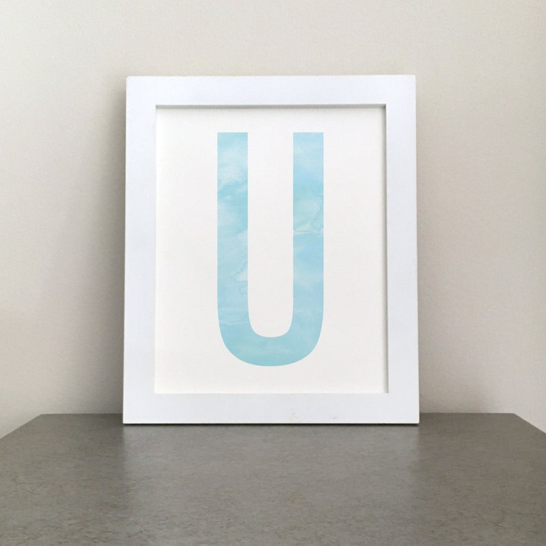 image relating to Letter U Printable named Letter U Printable Watercolor Artwork - Blue 8X10 Monogram Print for Nursery or Children Place, Immediate Obtain Artwork
