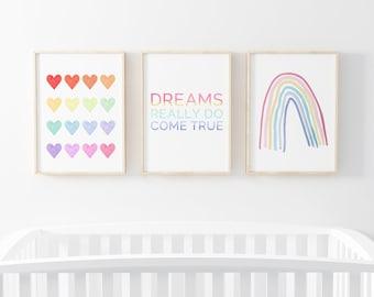 Rainbow Wall Art Set of 3 Prints - Nursery Wall Art - Printable Wall Art - Boho Nursery Decor-  Instant Download Art - Baby Room Decor