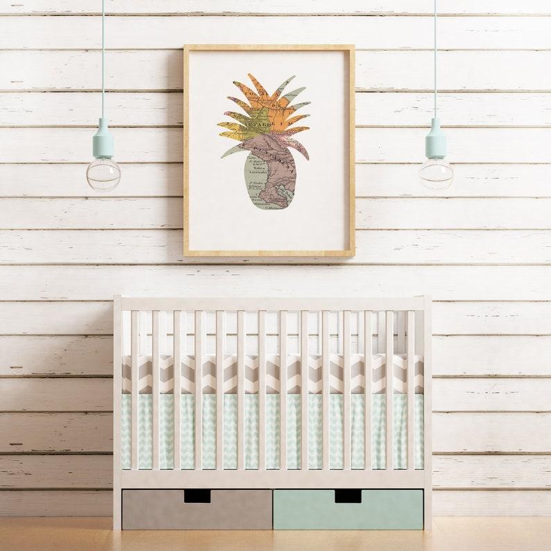 Pineapple Printable Wall Art  Map Print for Travel Theme image 0