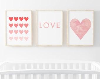 Set of 3 Prints Heart Nursery Wall Art Printable Wall Art Boho Nursery Decor Playroom Wall Art Toddler Wall Art Baby Room Decor