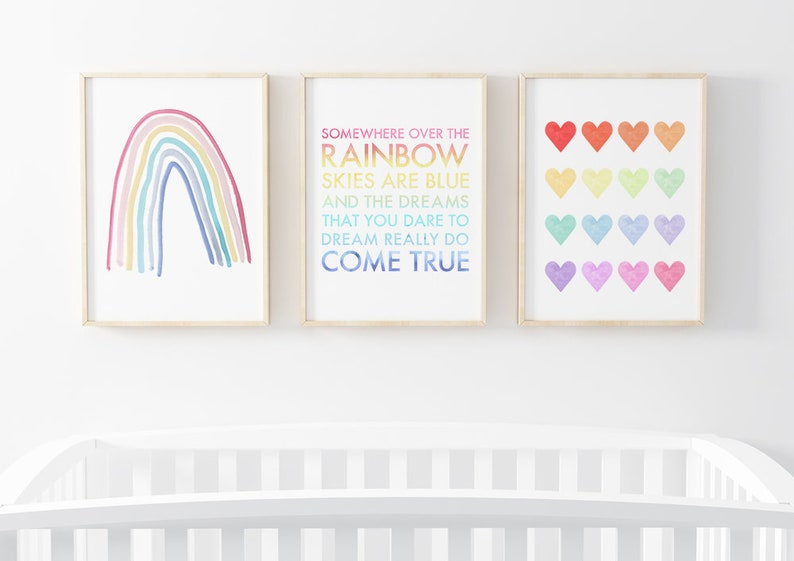 Somewhere Over The Rainbow Wall Art Set  Set of 3 Prints for image 0
