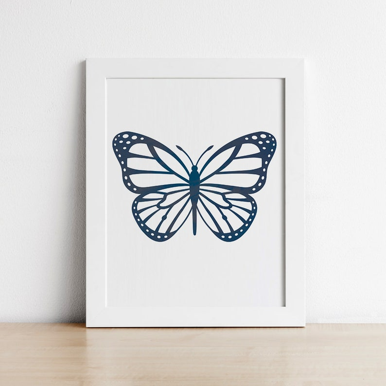 Butterfly Wall Art  Navy Blue Printable Wall Art for Nursery image 0