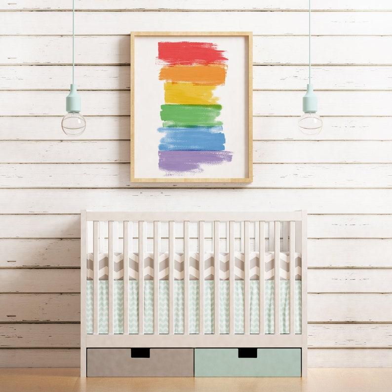 Rainbow Printable Wall Art  Abstract Painting  Modern Art image 0