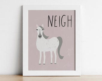 Horse Nursery Decor Printable Wall Art Farm Animal Nursery Art Playroom Wall Art Digital Print Toddler Wall Art Baby Room Decor