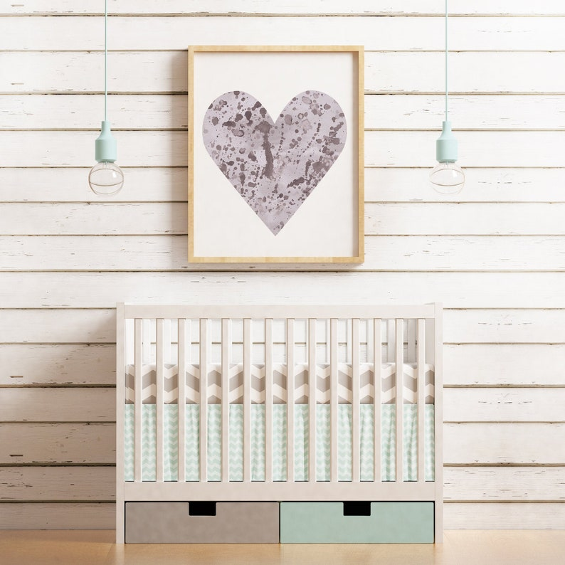 Nursery Wall Art  Lavender Heart Printable For Nursery  8X10 image 0