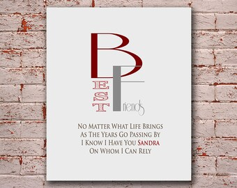 Gift for Best Friend - Best Friend Gift - Friendship - Birthday Gift - Bridesmaid Gift - Thank You For Being a Friend - Any Color Available