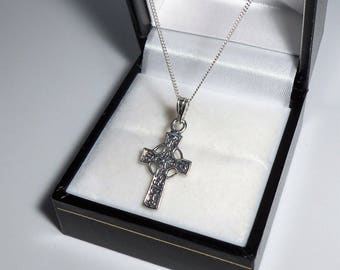 Celtic cross pendant etsy sterling silver celtic cross pendant necklace aloadofball Image collections