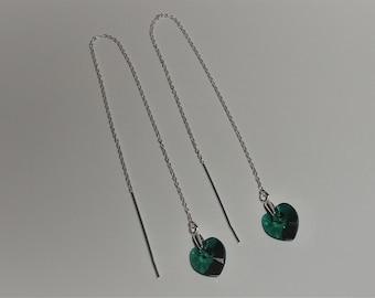 925 Sterling Silver Emerald Green Swarovski Crystal Heart Threader Earrings.