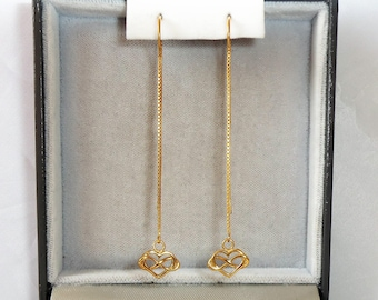 9ct Gold over Sterling Silver Infinity Heart Threader Earrings