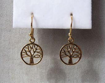 18ct Gold over Sterling Silver Tree of Life Earrings.