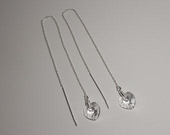 925 Sterling Silver Swarovski Crystal Heart Threader Earrings.