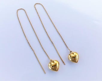18ct Gold over Sterling Silver Puffed Heart Threader Earrings.