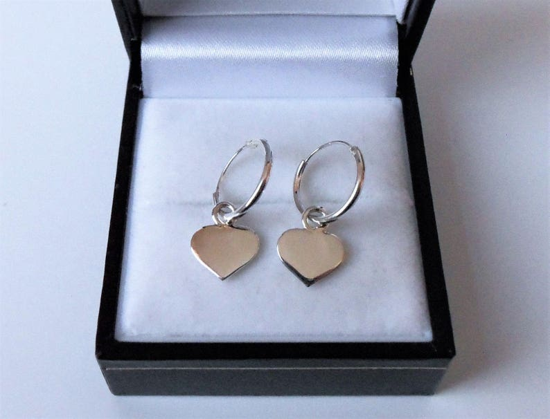 dc9cf3969 Sterling Silver 11mm Sleeper Hoop Huggie Heart Drop Earrings. | Etsy