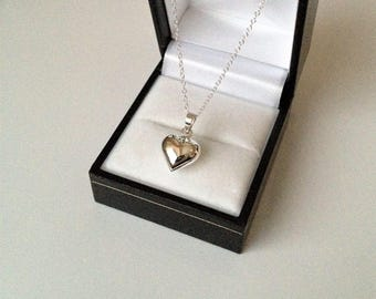 Sterling Silver Puffed Heart Pendant Necklace.