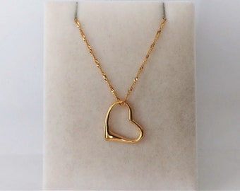 18ct Gold over Sterling Silver Floating Heart Pendant Necklace.