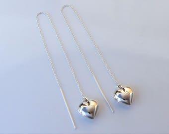 Puffed Heart Threader Earrings Sterling Silver.