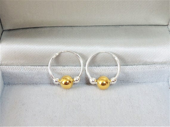402a2a418 15mm Sterling Silver Sleeper Hoop Earrings with Gold & Silver Beads.