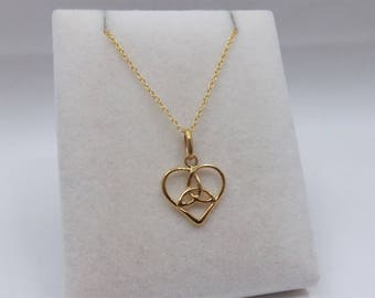 18ct Gold over Sterling Silver Celtic Heart Pendant & Chain Necklace.