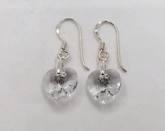 925 Sterling Silver Swarovski Crystal Heart Earrings.