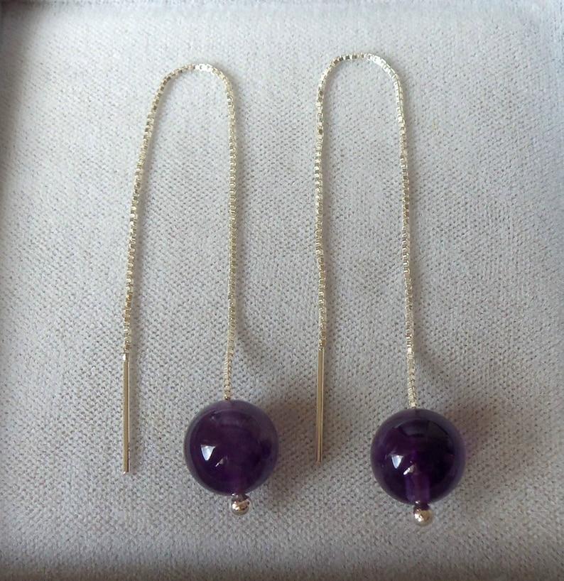 Sterling Silver Amethyst Threader Earrings.