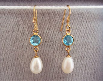 18ct Gold over Sterling Silver Blue Topaz & Freshwater Pearl Drop Earrings.
