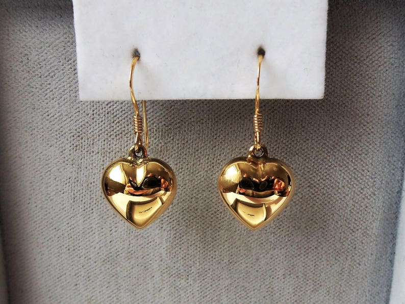 ac56f8959 18ct Gold over Sterling Silver Puffed Heart Earrings 25mm x | Etsy