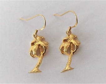 9ct Gold over Sterling Silver Palm Tree Earrings.