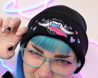 Bite Me Monster teeth Cryptid Yokai Oni Demon Beanie hat in Black