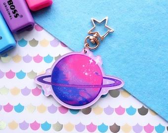 Bi Planet Bisexual LGBTQ+ Keyring ~ Bi Flag kawaii Planet Charm