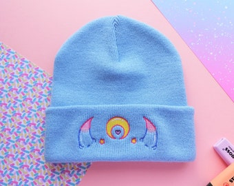 Demon Horns Magical Moon Amai Embroidered Beanie -  Monster Girl Hat in Blue