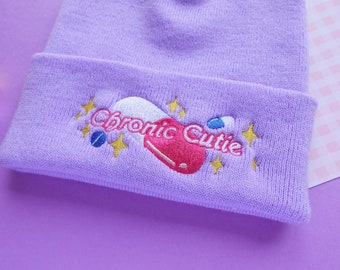 Chronic Cutie Embroidered Beanie - Chronic Illness Spoonie Hat in Lilac