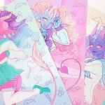 Demon School Girls 3 Print Set - Kawaii Monster Girls Tiefling Art Print