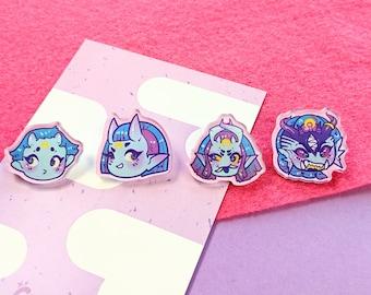 Amai chibi mini pins, 1 inch, set of 4 Acrylic brooch pins, demon, oni, yokai, kaiju, kawaii, pastel