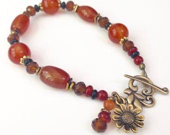 Boho Agate Beaded Bracelet Gift for Mom, Carnelian Gemstone Charm Bracelet, Bohemian Beaded Jewelry Birthday Gift for Her, Boho Bracelet