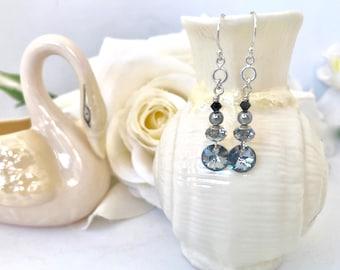 Beautiful Silver Gray Crystal Bead Earrings, Dainty Drop Earrings, Grey Statement Earrings, Crystal Dangle Earrings