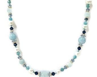 Aquamarine Necklace, Boho Gemstone Necklace & Earrings, Bohemian Beaded Jewelry, Birthstone Jewelry Birthday Gift for Her Blue Bead Necklace